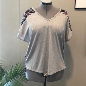 Pixley short sleeve solid-print tee Large
